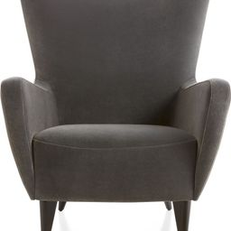 Elsa Grey Velvet Wingback Chair + Reviews | Crate and Barrel | Crate & Barrel