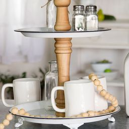 American Mercantile Decorative Trays White/Brown - Metal Two-Tiered Tray   Zulily
