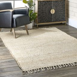 Off White Handspun Jute With Tassels Area Rug   Rugs USA