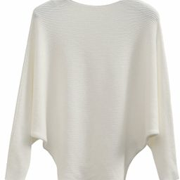 GABERLY Boat Neck Batwing Sleeves Dolman Knitted Sweaters and Pullovers Tops for Women   Amazon (US)