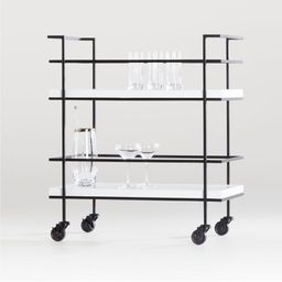 "Adina Black Cart with White Concrete Shelves. 29""Wx18.5""Dx34""H   Crate & Barrel"