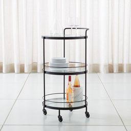 """Noir Round Bar Cart. 19.25"""" dia. x 36.5""""H   Crate & Barrel"""