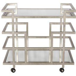 Silver Leaf Linear Bar Cart with Two Mirror Shelves – BURKE DECOR   Burke Decor