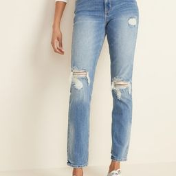 High-Waisted Distressed Power Slim Straight Jeans For Women | Old Navy (US)