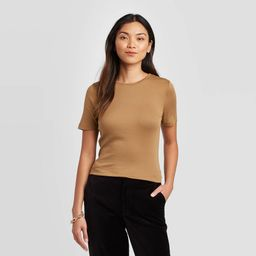 Women's Slim Fit Short Sleeve Crewneck Fitted T-Shirt - A New Day Brown XL, Women's | Target