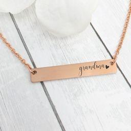 Grams Bar Necklace Grandma Gift Grandma Necklace Grandma Jewelry Mother's Day Gift Idea Nana Neck...   Etsy (US)
