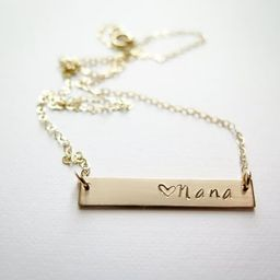 Nana Necklace with Heart - Personalized with your name - 14k Gold Fill Hand Stamped Jewelry - Bet...   Etsy (US)