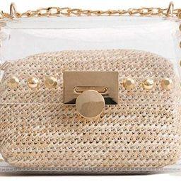 Clear Purse, 2 in 1 Transparent Shoulder Bag Set Fashion Rivet Chain Strap PVC Handbags for Women...   Amazon (US)