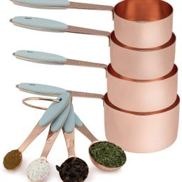 Cook with Color 8 Piece Copper Measuring Cups and Measuring Spoon Set Stainless Steel with Soft T... | Amazon (US)