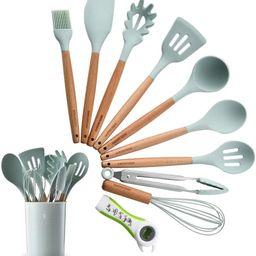 Silicone Kitchen Utensil Set, Heat-Resistant Non-Stick Silicone Cooking Tools (Wood) | Amazon (US)
