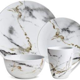 Hoomeet White Marble Design 16-Piece Dinnerware Set, Service for 4. | Amazon (US)