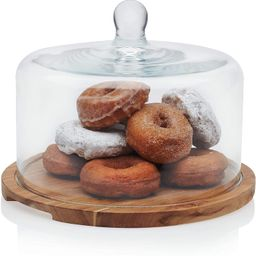 Libbey Acaciawood Flat Round Wood Server Cake Stand with Glass Dome | Amazon (US)