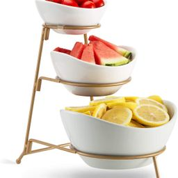 3 Tier Oval Bowl Set with Metal Rack,HabiLife Three Ceramic Fruit Bowl Serving - Tiered Serving S... | Amazon (US)