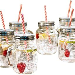 Estilo Mason Jar Mugs with Handle and Straws Old Fashioned Drinking Glass Set 6, 16 oz Each | Amazon (US)