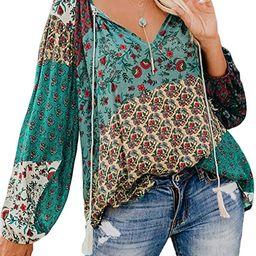 Tiksawon Women's Floral Print V Neck Long Sleeve Shirts Tops Casual Loose Boho Blouses   Amazon (US)