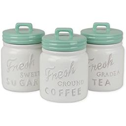 DII 3-Piece Vintage, Retro, Farmhouse Chic, Mason Jar Inspired Ceramic Kitchen Canister with Airt... | Amazon (US)