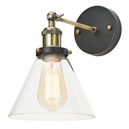 1-Light Adjustable Sconce with Clear Glass Shade, Antique Brass/Bronze Finish   Walmart (US)