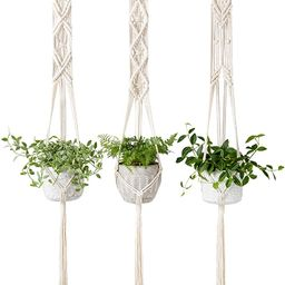 Mkono Macrame Plant Hangers Set of 3 Indoor Wall Hanging Planter Basket Flower Pot Holder Boho Ho... | Amazon (US)