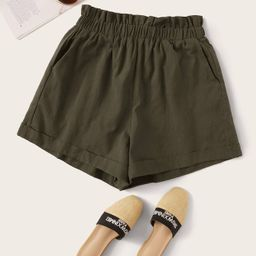 SHEIN Paperbag Waist Rolled Hem Shorts   SHEIN