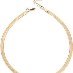 14K Gold Dainty Herringbone/Satellite Chain Choker Necklace Fashion Jewelry for Women Girls 16'' | Amazon (US)