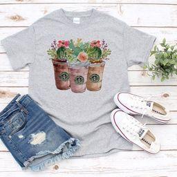 Starbucks succulent T-Shirt, Coffee Shirt, Starbucks Shirt, Floral, Flowers, Succulent T-Shirt | Etsy (US)