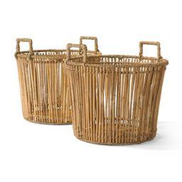 MoDRN Naturals Round Rattan Basket with Handles, 2 Pack   Walmart (US)