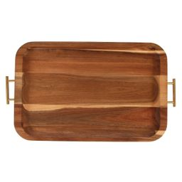 Better Homes & Gardens Acacia Wood Serving Tray with Gold Handles   Walmart (US)