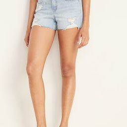 Mid-Rise Boyfriend Distressed Cut-Off Jean Shorts for Women - 3 inch inseam | Old Navy (US)