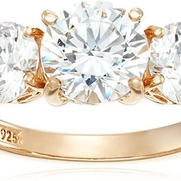 Platinum or Gold Plated Sterling Silver Round 3-Stone Ring made with Swarovski Zirconia | Amazon (US)
