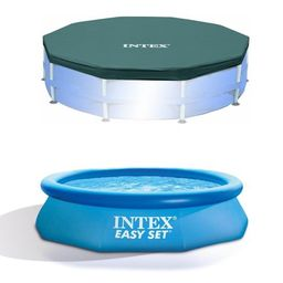 Intex 10ft Round Swimming Pool Cover & Easy Set 10ft x 30in Inflatable Pool | Walmart (US)