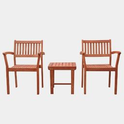 Malibu Outdoor Patio 3pc Wood Dining Set with Stacking Chair | Target