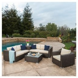 Santa Rosa 7pc  All-Weather Wicker Patio Sectional Sofa Set - Brown - Christopher Knight Home | Target