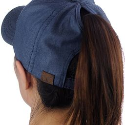Ponycap Messy High Bun Ponytail Adjustable Cotton Baseball Cap Hat | Amazon (US)