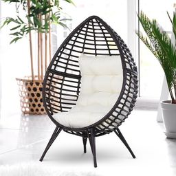 Outsunny Outdoor Indoor Wicker Teardrop Chair with Cushion Rattan Lounger - Cream White | Overstock