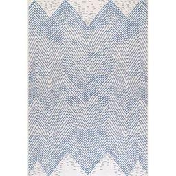 Wavy Geometric Blue 5 ft. x 8 ft.  Indoor/Outdoor Area Rug | The Home Depot