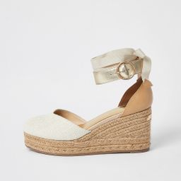 Brown lace-up ankle espadrille wedge sandals   River Island (UK & IE)