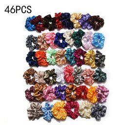 AkoaDa 40/46/50Pcs Pack Silk Hair Scrunchies Elastic Hair Band Hair Rings Scrunchy Ponytail Holde... | Walmart (US)