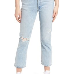 Riley Ripped High Waist Crop Straight Leg Jeans | Nordstrom