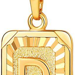 Monogram Necklace A-Z 26 Letters Pendants 18K Gold/Platinum Plated Square Tiny Initial Necklaces ...   Amazon (US)