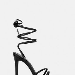 Black Lace Up Pointed Toe Barely There Heels | Missguided (UK & IE)