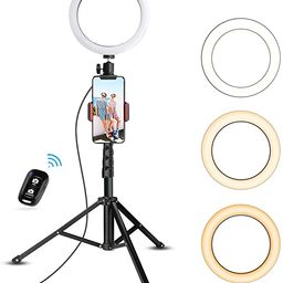 """8"""" Selfie Ring Light with Tripod Stand & Cell Phone Holder for Live Stream/Makeup, UBeesize Mini ...   Amazon (US)"""