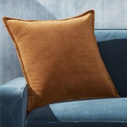 """Brenner Velvet Cognac Pillow with Feather-Down Insert 20"""" + Reviews   Crate and Barrel   Crate & Barrel"""