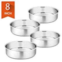 8 Inch Cake Pan Set of 4, P&P CHEF Stainless Steel Round Baking Pans Layer Cake Pans Tin Set, Mirror | Amazon (US)