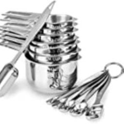 Stainless steel kitchen measuring cup 13 sets, kitchen spoon set with scale silicone material can be | Amazon (US)
