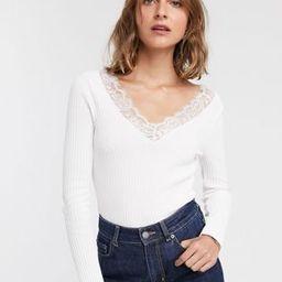 ASOS DESIGN lace trim v neck jumper | ASOS UK