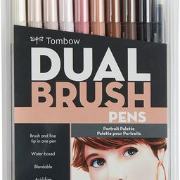 Tombow 56170 Dual Brush Pen Art Markers, Portrait, 10-Pack. Blendable, Brush and Fine Tip Markers | Amazon (US)