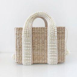 Luxury Pearl Basket Mini Tote   Natural   Vita Grace