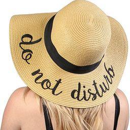 Funky Junque Women's Bold Cursive Embroidered Adjustable Beach Floppy Sun Hat   Amazon (US)