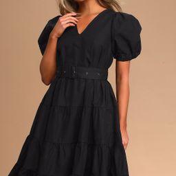 Ruby Black Puff Sleeve Belted Tiered Midi Dress | Lulus