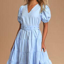 Ruby Light Blue Puff Sleeve Belted Tiered Midi Dress | Lulus